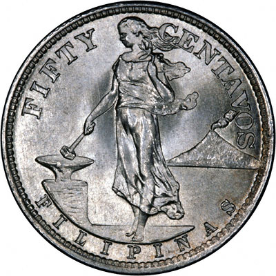 Obverse of 1945 Philippines 50 Cents