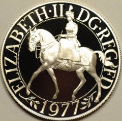 Obverse of Silver Jubilee Silver Proof Crown
