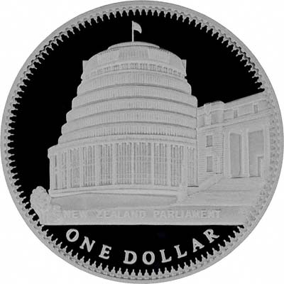 Reverse of New Zealand 2000 Proof Silver Ten Dollars