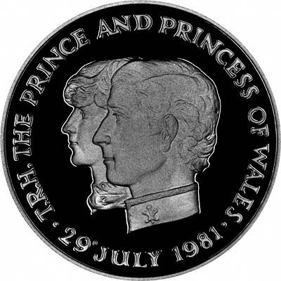 Reverse of 1981 Mauritius Crown Featuring Portraits of Prince Charles & Lady Diana Spencer