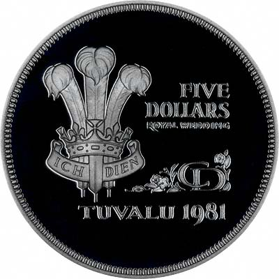 The Prince of Wales' Feathers on Reverse of 1981 Tuvalu Crown