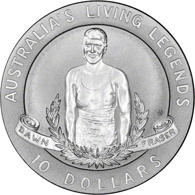 Reverse of 1995 Australia Silver Proof Ten Dollars - Dawn Fraser