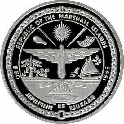 Obverse of 1996 Marshall Islands Silver Proof 50 Dollars