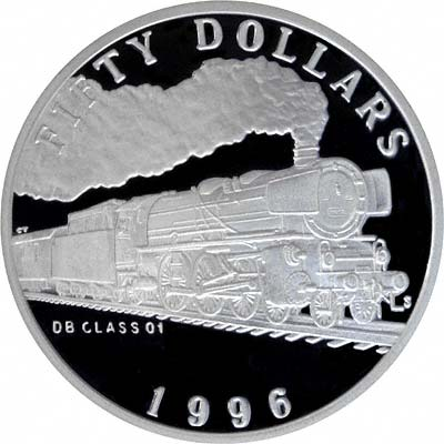 DB Class 01 Locomotive on Reverse of 1996 Marshall Islands Silver Proof 50 Dollars