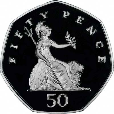 Britannia on Reverse of Silver Proof 2006 Fifty Pence