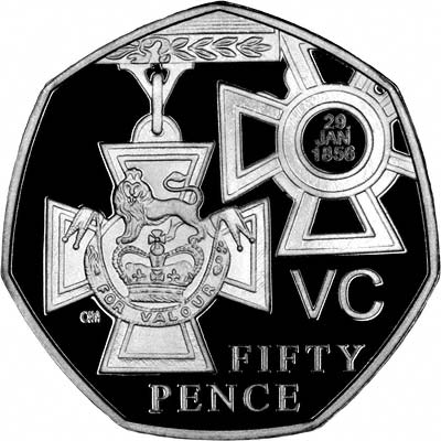 Victoria Cross on Reverse of Silver Proof 2006 Fifty Pence