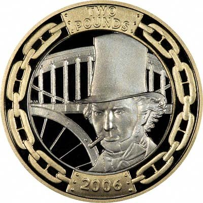 Portrait of Brunel on Reverse of 2006 £2 Silver Proof Coin