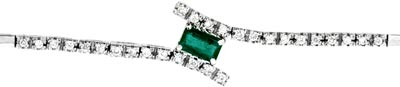 Second Hand Emerald & Diamond Set Bracelet in 18ct White Gold